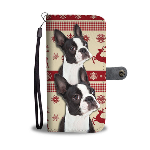 Cute Boston Terrier Christmas Print Wallet Case-Free Shipping