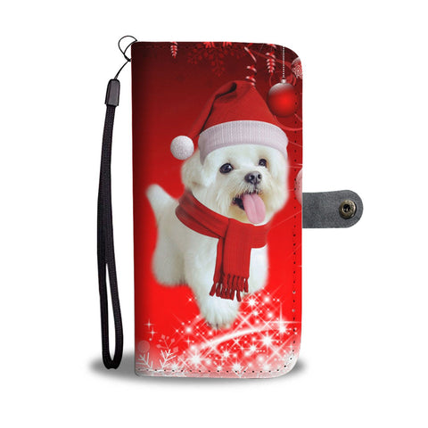 Cute Maltese Christmas Print Wallet Case-Free Shipping