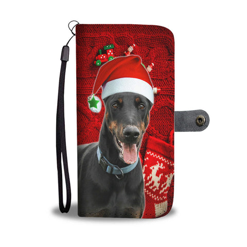 Doberman Pinscher On Christmas Print Wallet Case-Free Shipping