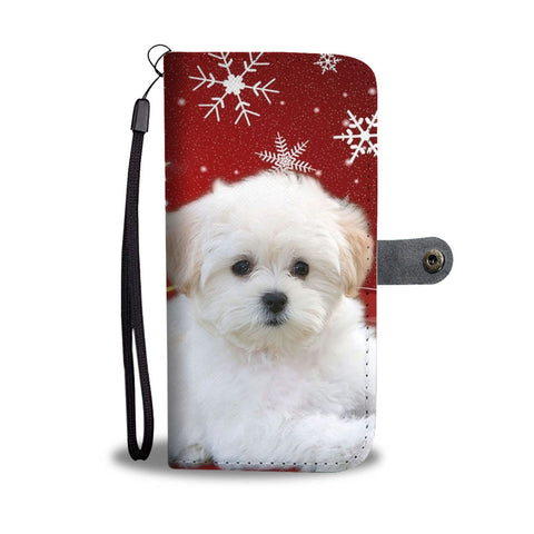 Maltese Dog On Christmas Print Wallet Case-Free Shipping