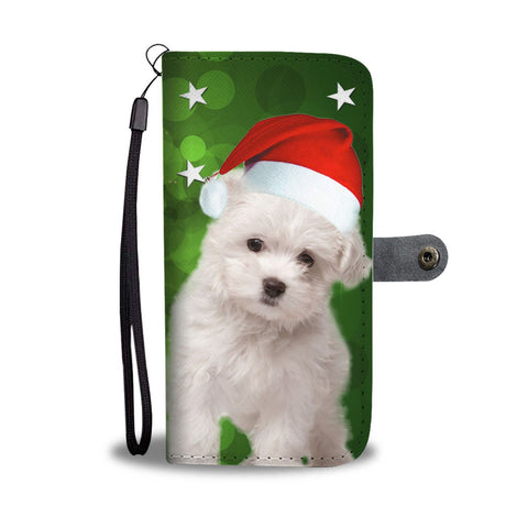 Cute Maltese Dog On Christmas Print Wallet Case-Free Shipping
