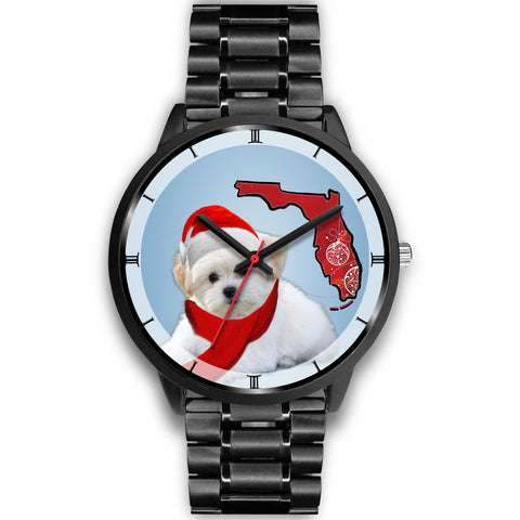Maltese Dog On Christmas Florida Wrist Watch-Free Shipping