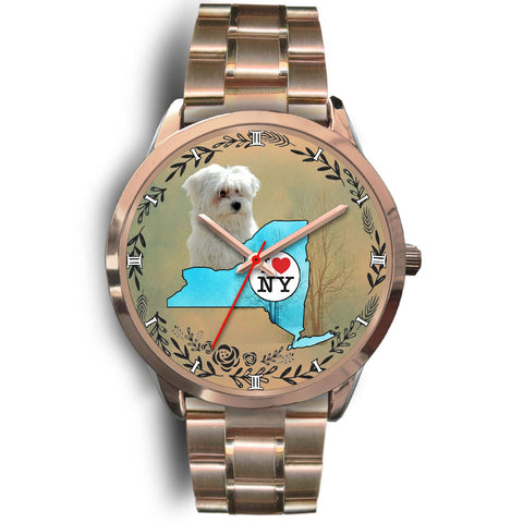 Cute Maltese Dog New York Christmas Special Wrist Watch-Free Shipping