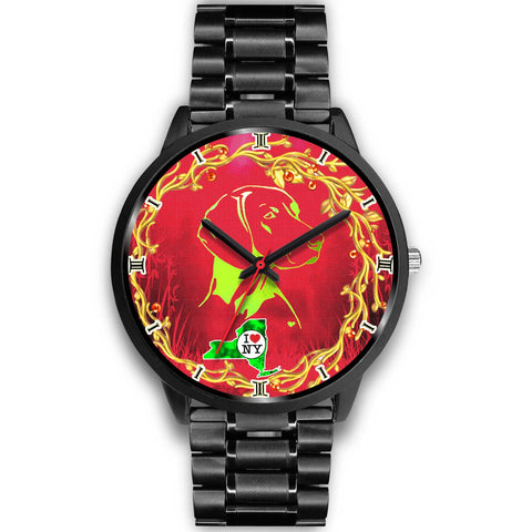 Lovely Vizsla Dog Art ON Red New York Christmas Special Wrist Watch-Free Shipping