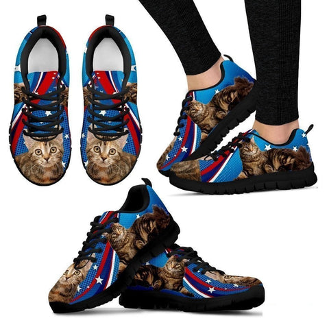 Manx Cat Print (White/Black) Running Shoes For Women-Free Shipping-Paww-Printz-Merchandise
