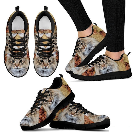 Norwegian Forest Cat Print (White/Black) Running Shoes For Women-Free Shipping-Paww-Printz-Merchandise