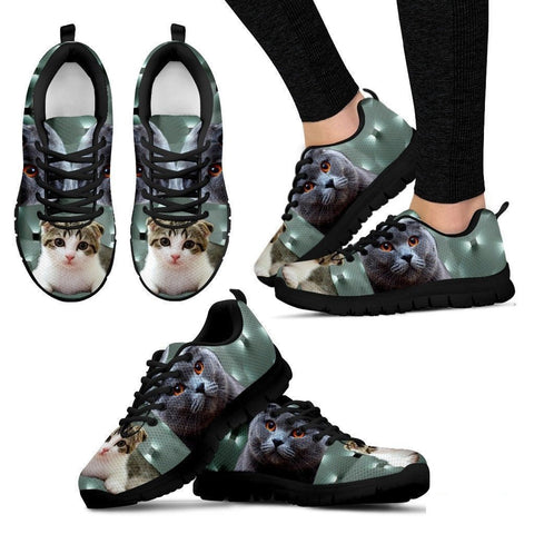 Scottish Fold Cat Print (White/Black) Running Shoes For Women-Free Shipping-Paww-Printz-Merchandise