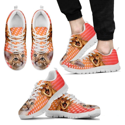 Toyger Cat Print (White/Black) Running Shoes For Men-Free Shipping-Paww-Printz-Merchandise