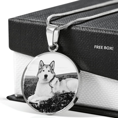 Cute Alaskan Malamute Print Luxury Necklace- Free Shipping