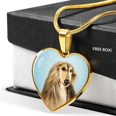 Afghan Hound Dog Print Heart Pendant Luxury Necklace-Free Shipping