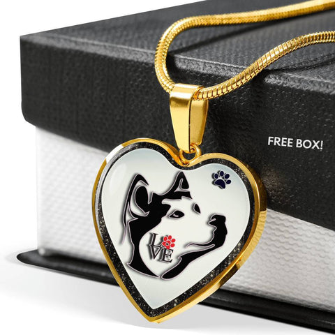 Siberian Husky Dog Art Print Heart Charm Necklaces-Free Shipping