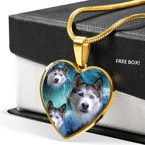 Siberian Husky Print Heart Charm Necklace-Free Shipping