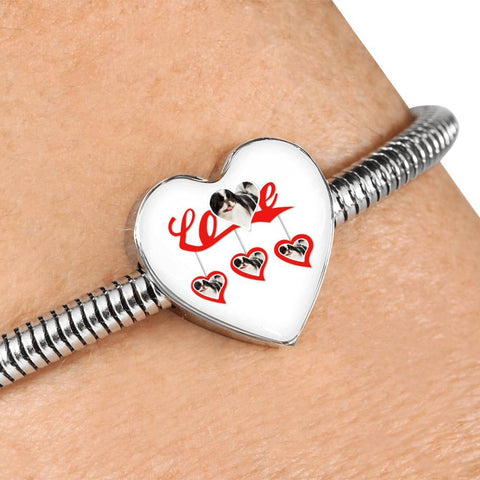 Japanese Chin Print Heart Charm Bracelet-Free Shipping
