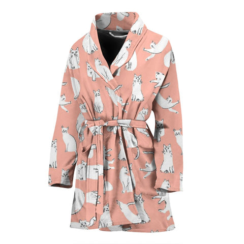 Persian Cat Pattern Print Women's Bath Robe-Free Shipping
