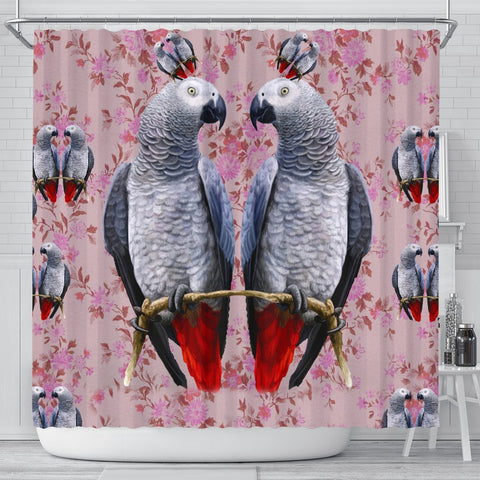 African Grey Parrot Floral Print Shower Curtains-Free Shipping