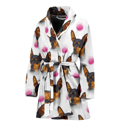 Amazing Miniature Pinscher Dog Patterns Print Women's Bath Robe-Free Shipping