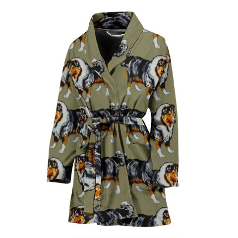 Amazing Rough Collie Dog Pattern Print Women's Bath Robe-Free Shipping