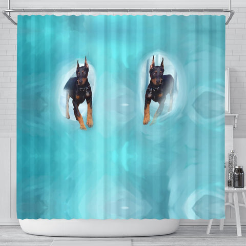Doberman Pinscher Print Shower Curtain-Free Shipping