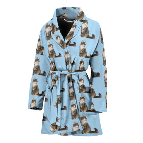 Norwegian Forest Cat Pattern Print Women's Bath Robe-Free Shipping