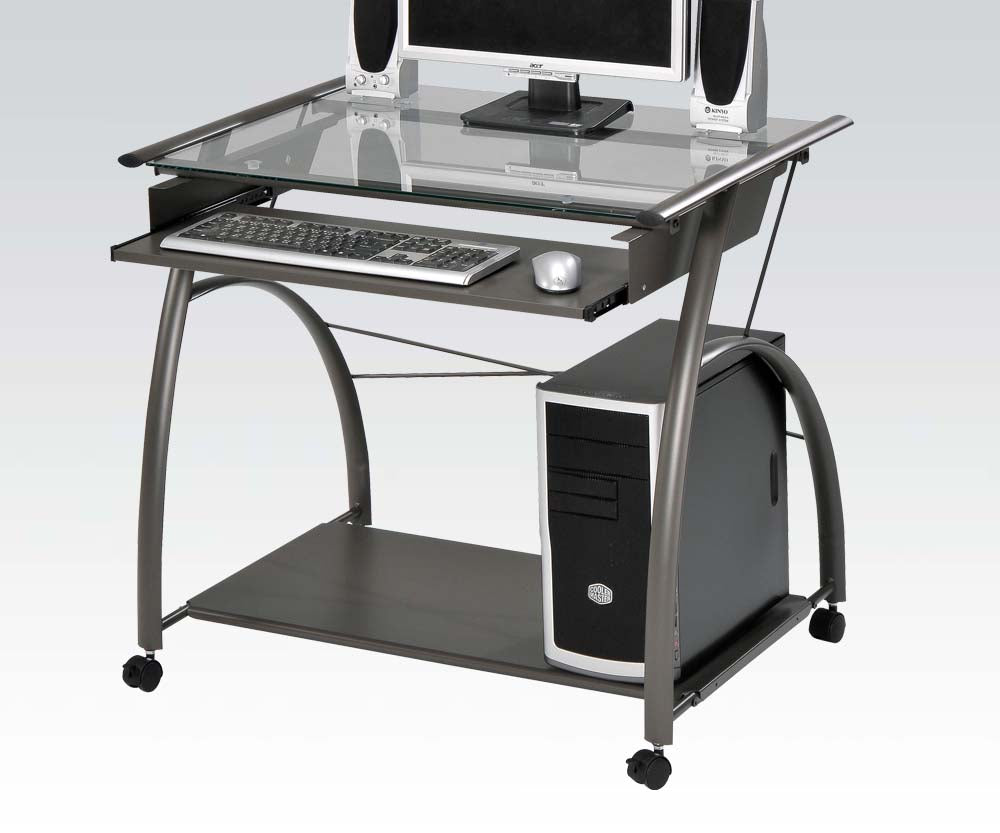 Acme 00118 Vincent Computer Desk with Sliding Tray in Silver