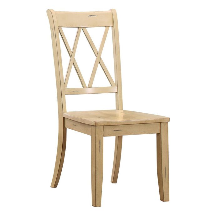 Janina 2 Piece County Casual Buttermilk Wood Side Chairs