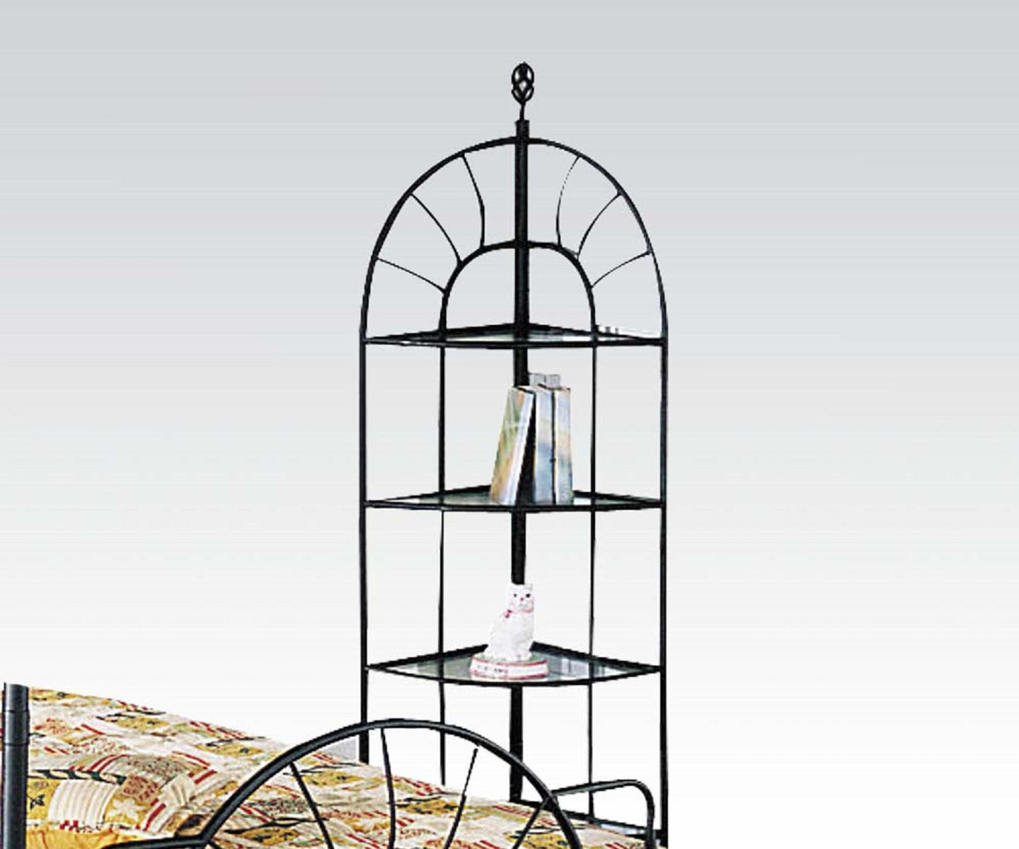 Acme Sunburst Sandy Black Corner Display Rack with Shelves