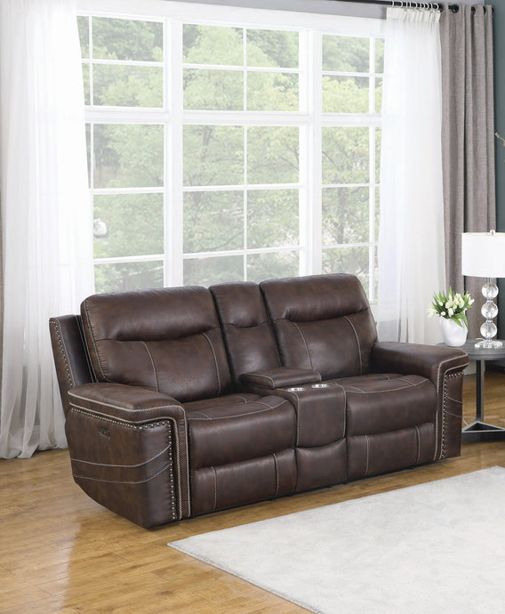Homy Living Wixom Brown Faux Suede Finish Double Power Recliner Loveseat