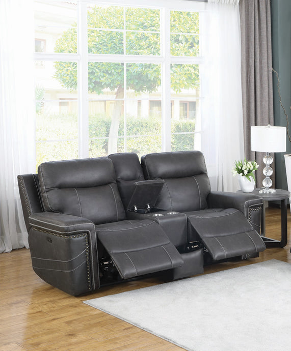 Homy Living Wixom Charcoal Faux Suede Finish Double Power Recliner Loveseat