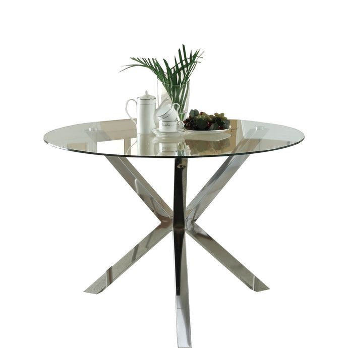 Vance Round Glass Top Chrome Base Dining Table