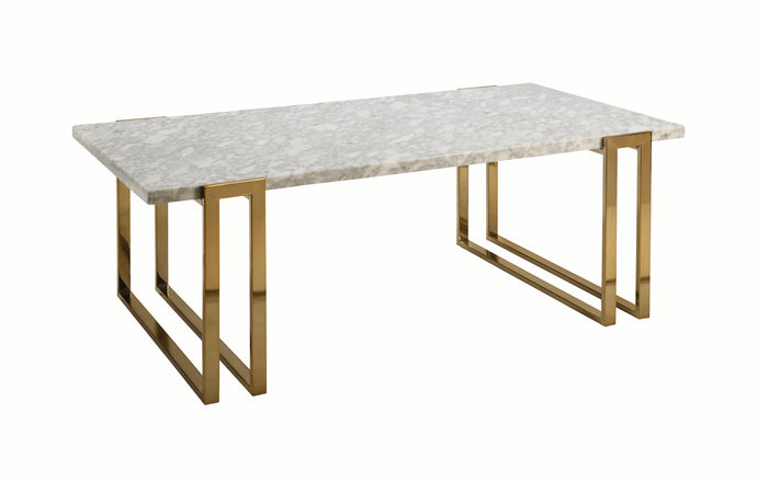 Homy Living Sled Base White And Gold Marble Top Finish Coffee Table