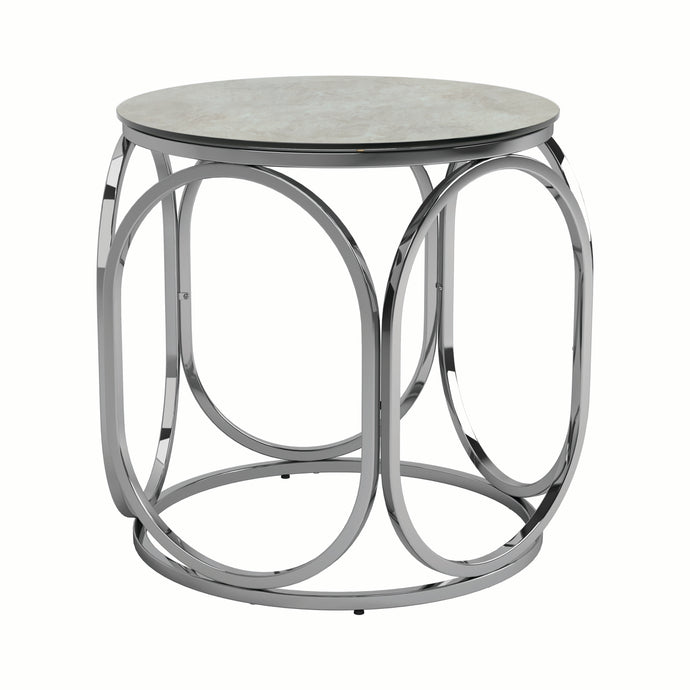 Homy Living Round Gunmetal Metal And Glass Top Finish End Table