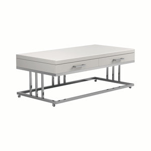 Homy Living Rectangular White Glossy Top And Metal Finish Coffee Table