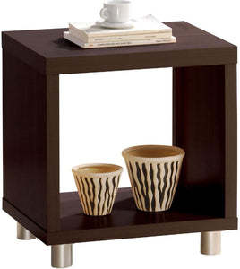 Acme Redland Espresso Wood And Nickel Finish End Table