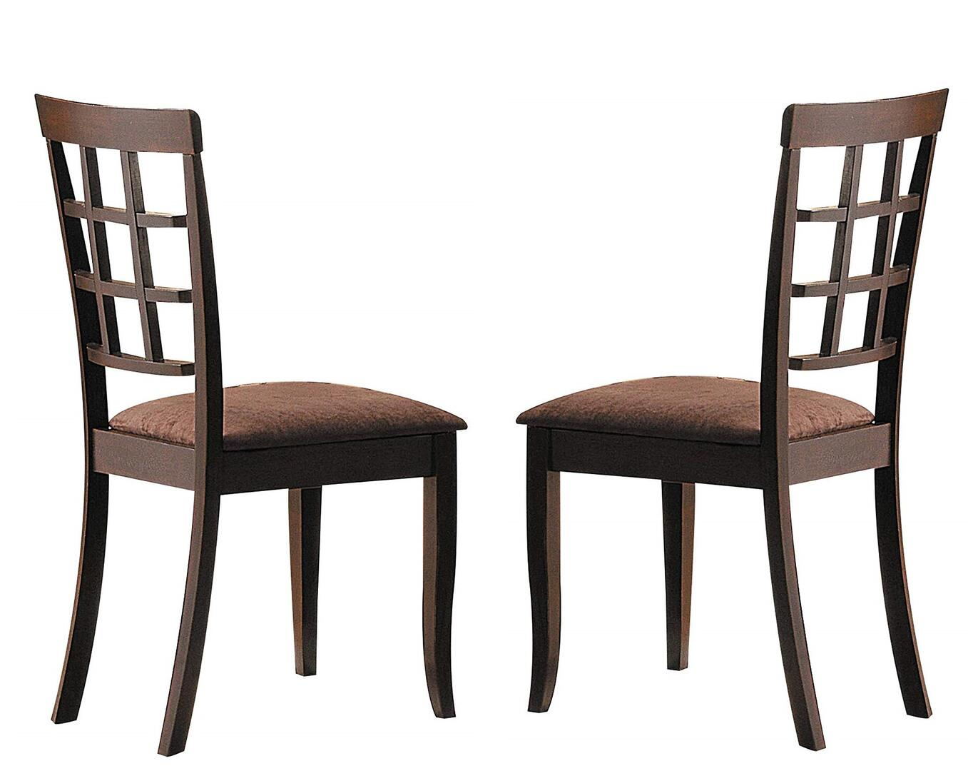 Acme Cardiff Dark Brown Microfiber And Wood Finish 2 Piece Dining Chair