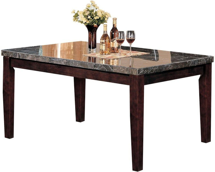 Acme 07058 Danville Dining Table Black Faux Marble Top and Walnut