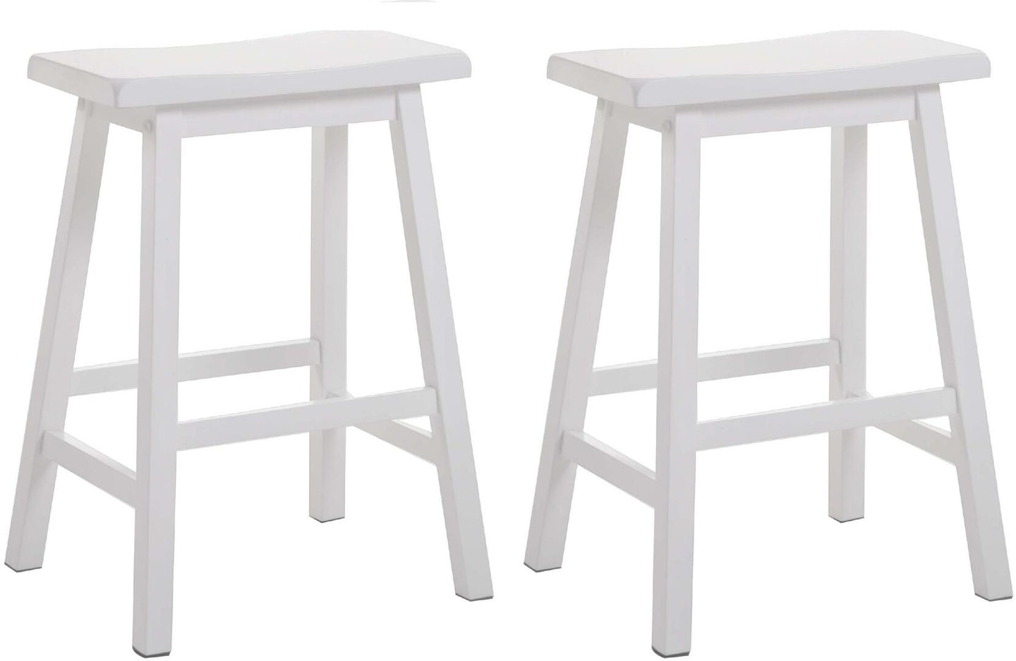 Acme Caucho White Wood Finish 2 Piece Counter Height Stool