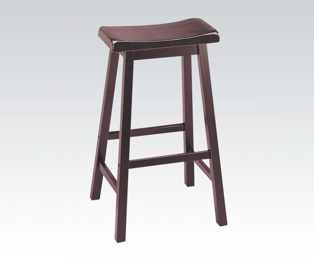 Acme Gaucho Walnut Finish Traditional Height Bar Stool