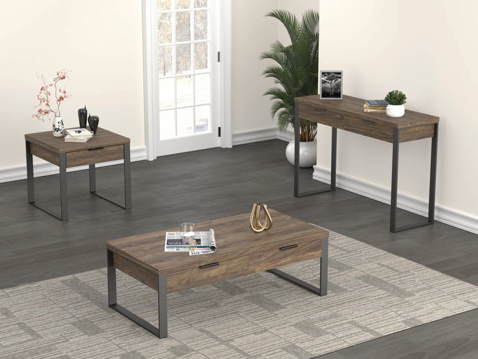 Homy Living Square Walnut Wood And Metal Finish 3 Piece Coffee Table Set