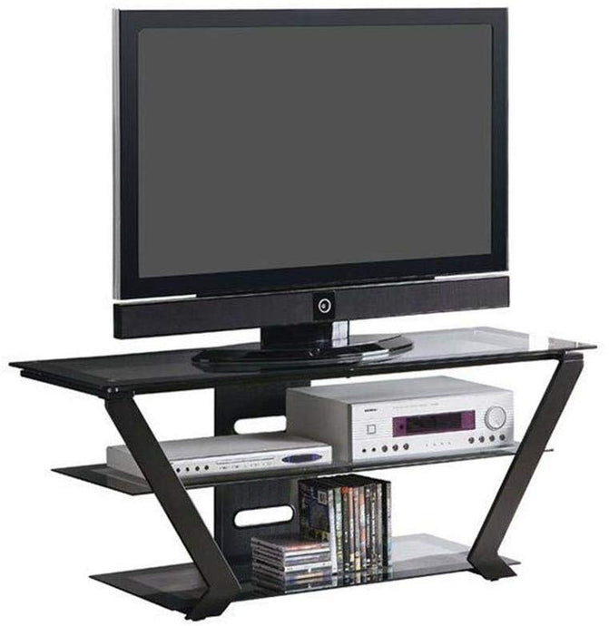 Homy Living Black Glass And Stainless Steel Finish TV Stand