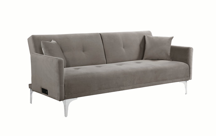 Homy Living Blythe Taupe Fabric And Chrome Finish Sofa Bed