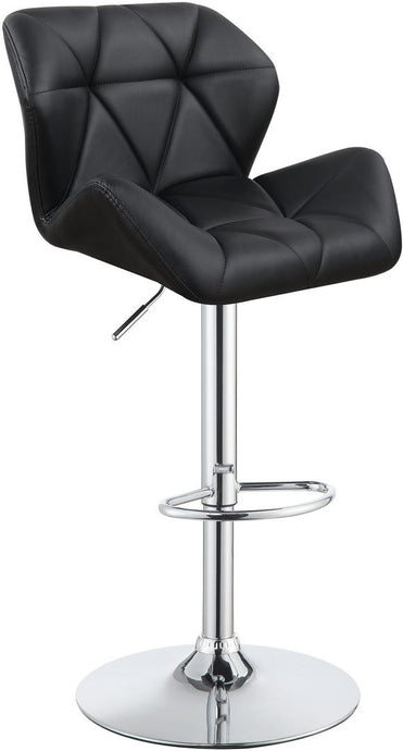 Homy Living Black Leather And Chrome Finish 2 Piece Bar Stool
