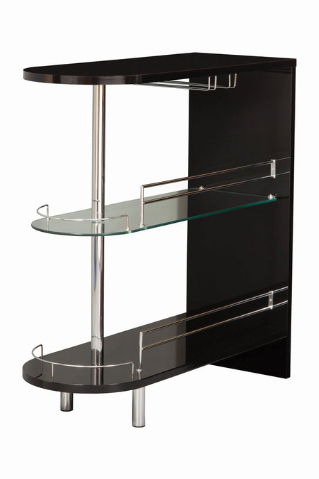 Homy Living Black High Gloss Bar Table with Glass Shelf