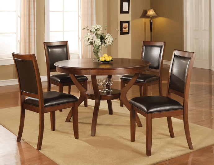 Coaster Nelms 5 Piece Round Dining Table and Chair Set in Walnut
