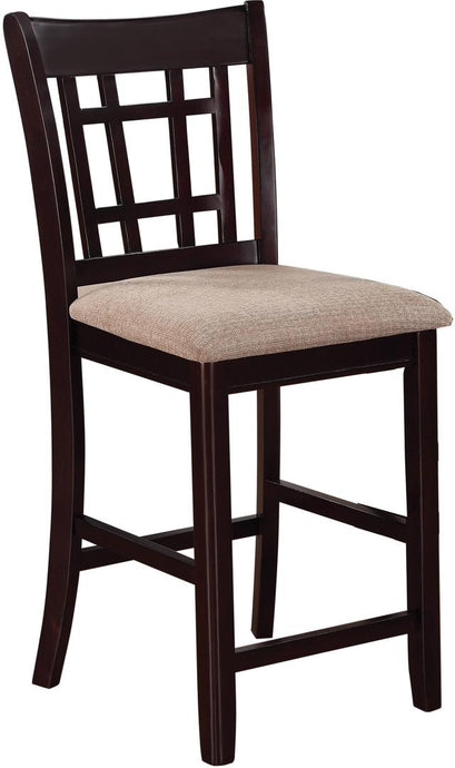 Coaster Lavon Espresso Lattice Back Counter Height Stool Set of 2
