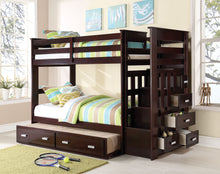 Load image into Gallery viewer, Acme Allentown Espresso Wood Finish Twin over Twin Bunk Bed with Stairs Trundle