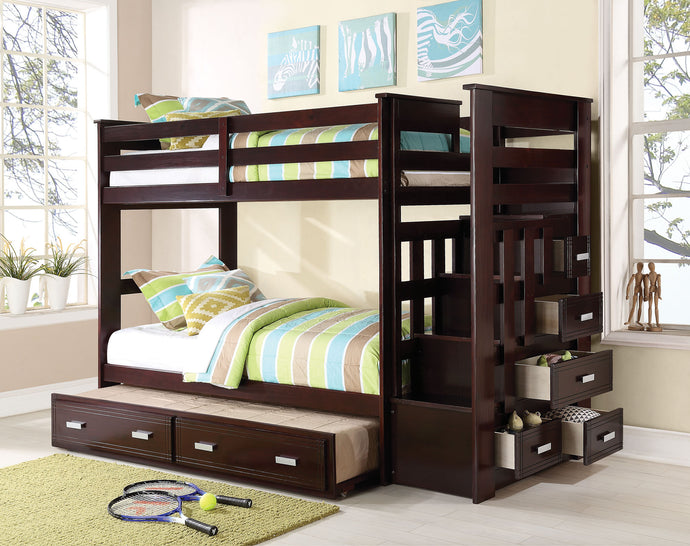 Acme Allentown Twin over Twin Bunk Bed with Stairs Trundle Espresso
