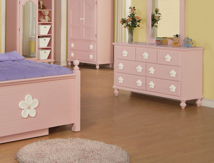 Acme 00741 Floresville Girls Pink Flower 7 Drawer Dresser