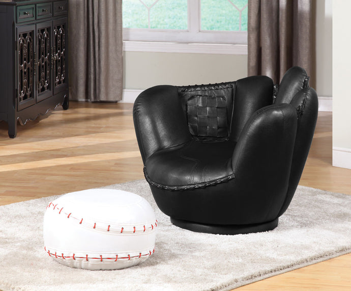 Acme All Star Baseball Black Glove Chair and Ottoman