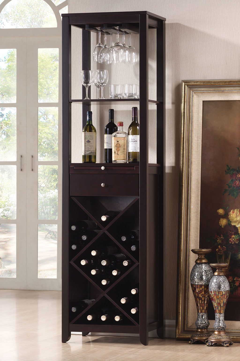 Acme 12244 Casey Wenge Finish Wine Cabinet Tower