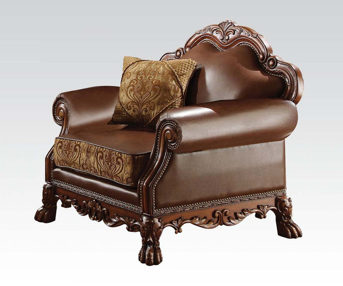 Acme Dresden Brown Pu Leather Chair With Pillow